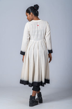 Off White Organic Cotton with Black Temple border Jacket Dress - NEELANJANA - Upasana Design Studio