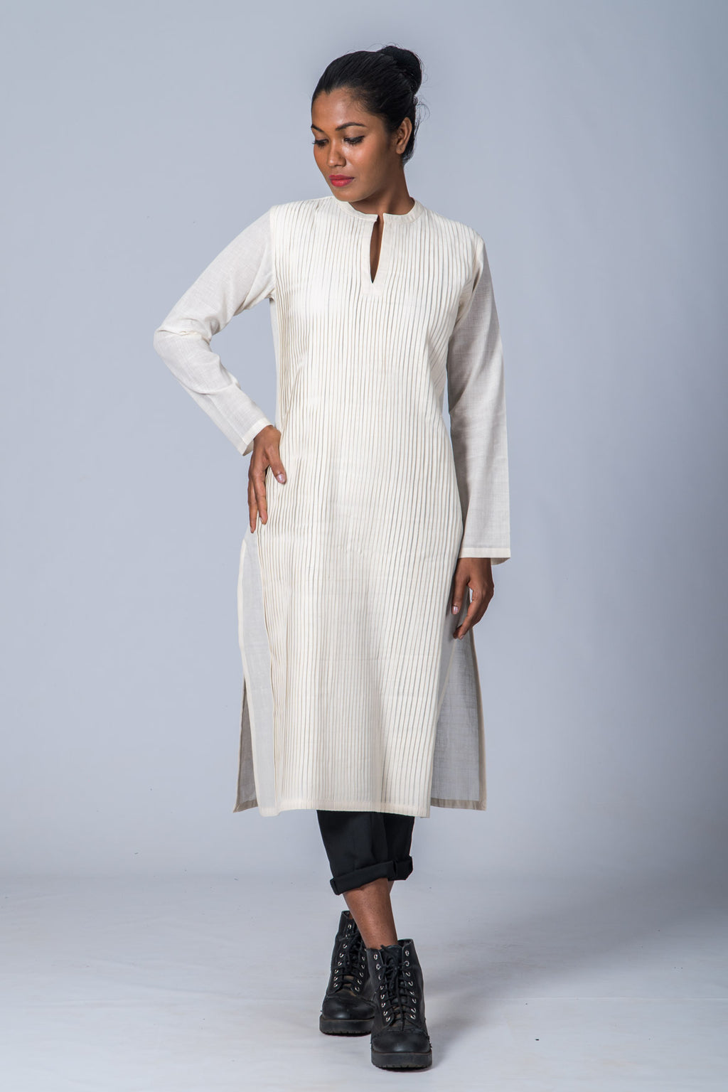 White Organic cotton Kurta - COTTON WEAR - Upasana Design Studio