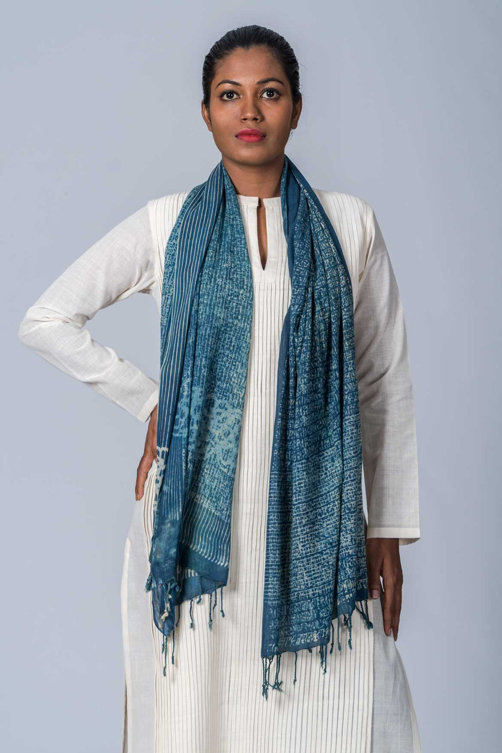 Natural Dyed Organic Cotton Hand Block Printed Scarf - ABRIL