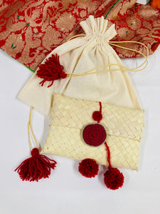 Diwali gifting palm Leaf pouch red pompom medium