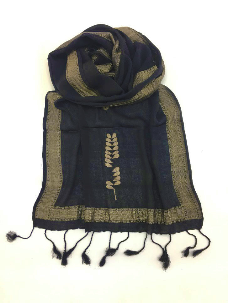 Black and Gold Varanasi Silk Scarf Gift Box