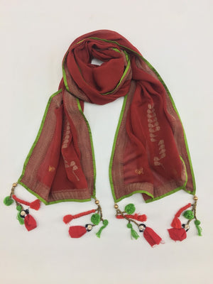 Red and Gold Varanasi Silk Scarf Gift Box