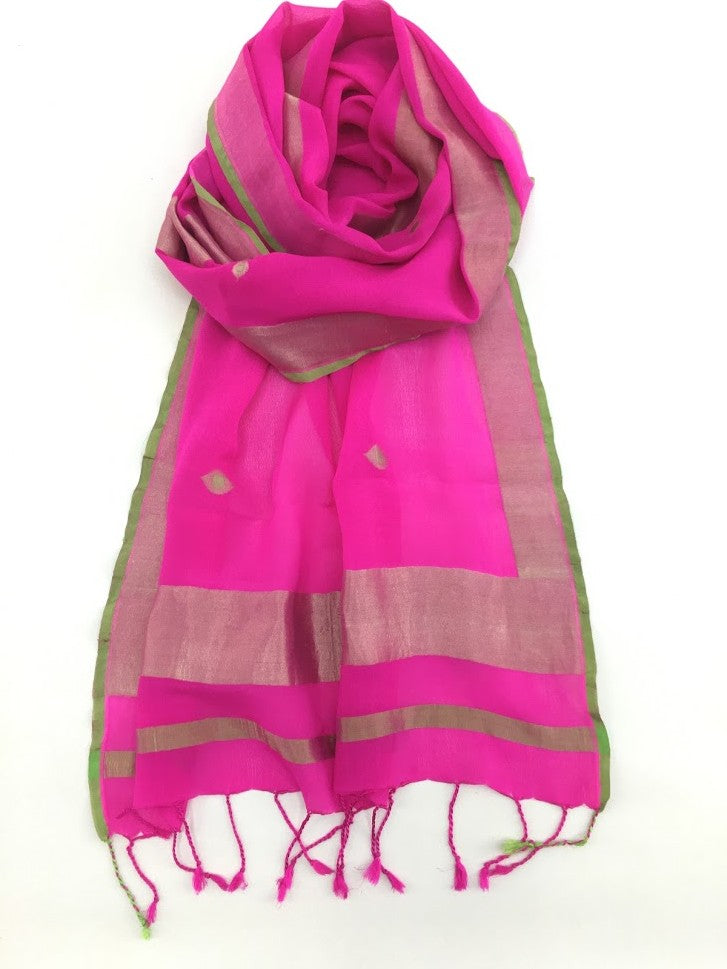 Pink and Gold Varanasi Silk Scarf
