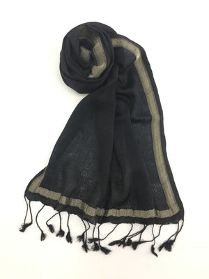 Black Varanasi Silk Scarf Gift Box - Upasana Design Studio