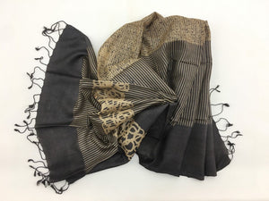 Black and Beige Tussar Silk Scarf Gift Box