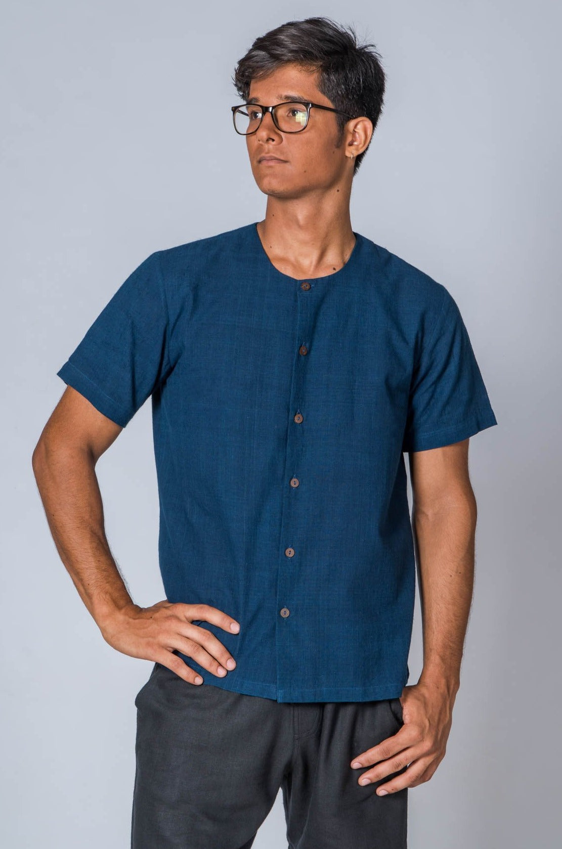 Natural Indigo Handwoven Shirt - JAMA - Upasana Design Studio