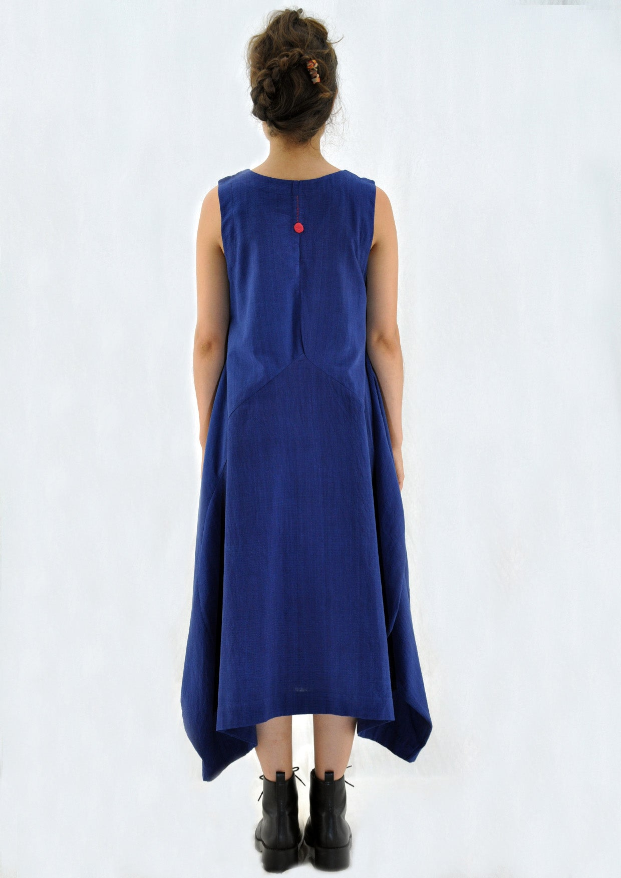 Natural Indigo Khadi Dress - INES - Upasana Design Studio