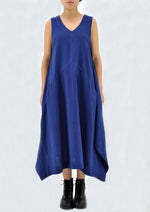 Natural Indigo Khadi Dress - INES