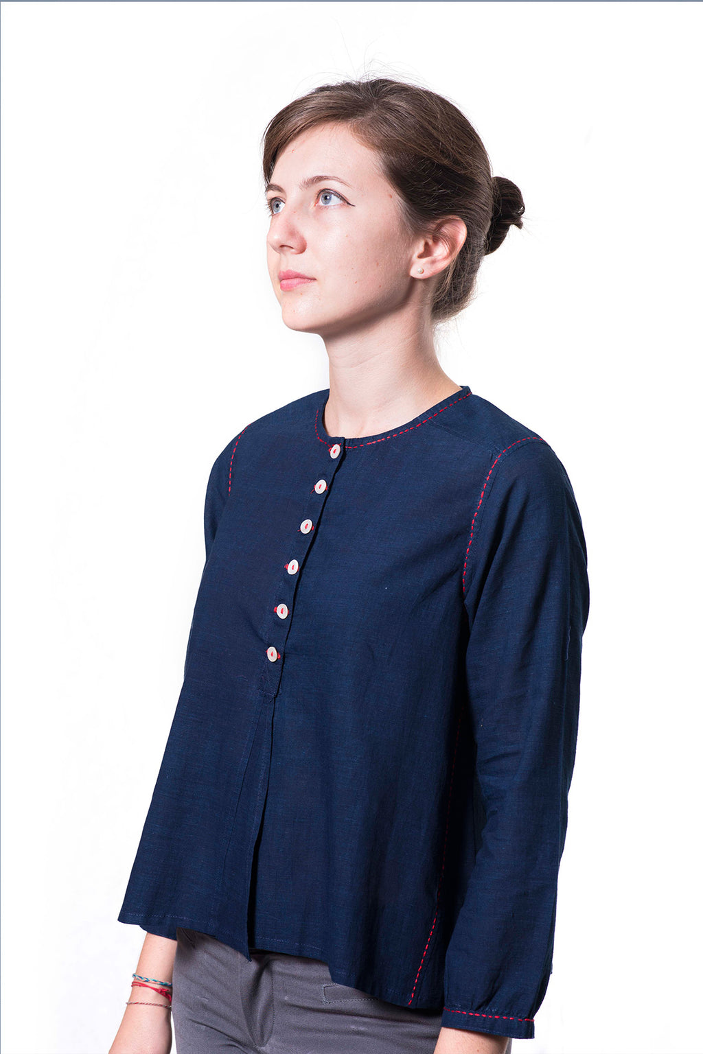 Natural Indigo Fine Khadi Top - JUBA - Upasana Design Studio
