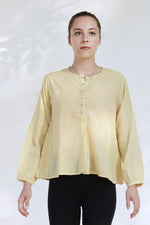 Neem dyed Organic cotton Top - JUBA - Upasana Design Studio