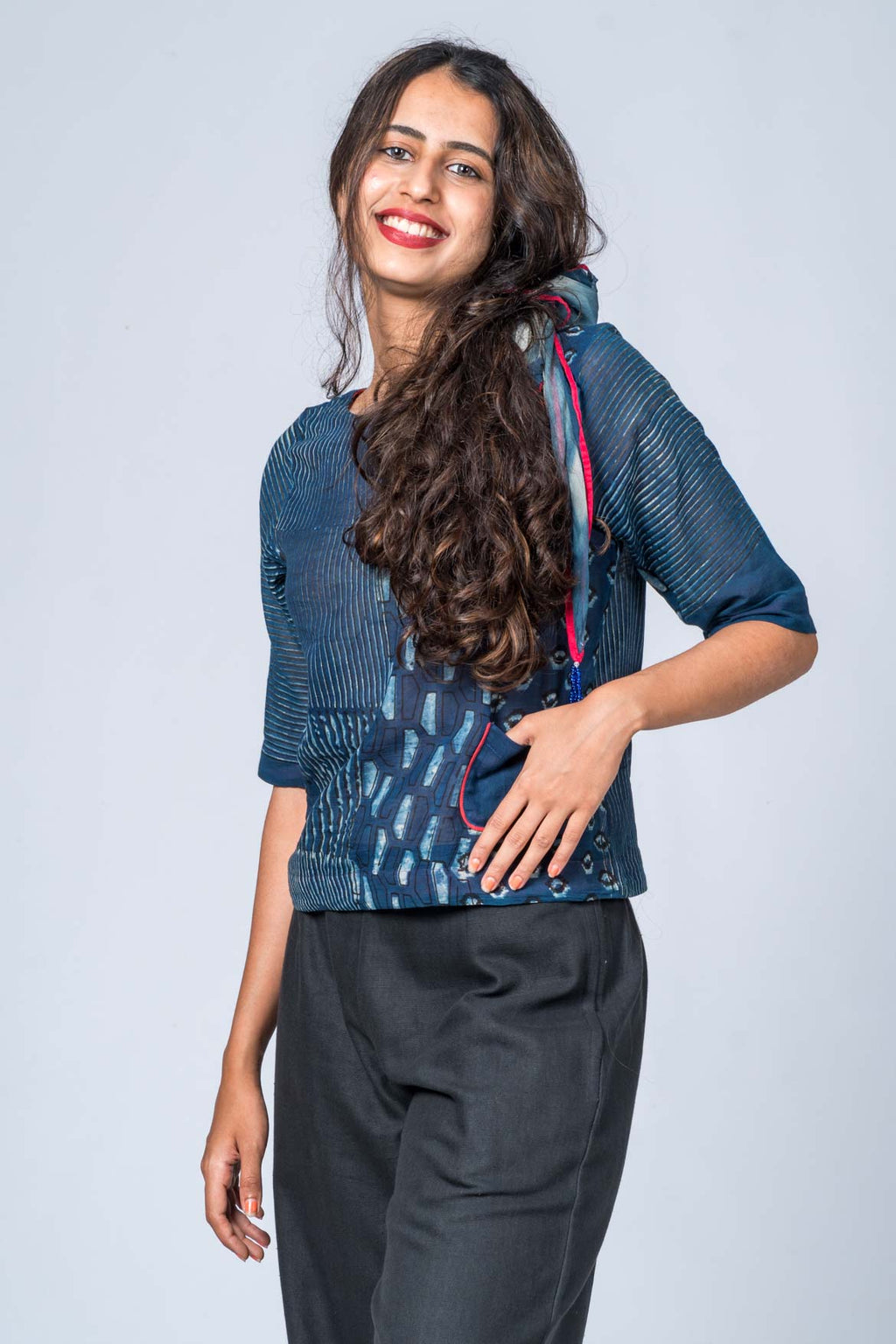 Kutty - Indigo Print Top