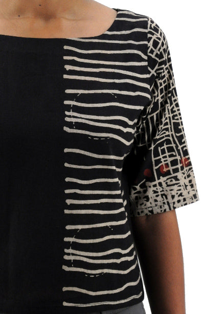Black Hand Block printed Organic cotton Top - KUTTY
