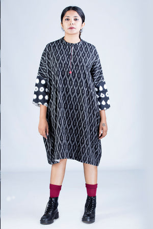 Black Ikat Dress - MUKTA - Upasana Design Studio
