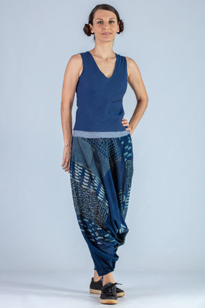 Indigo hand block printed Organic cotton Salwar - TURKISH LONG - Upasana Design Studio