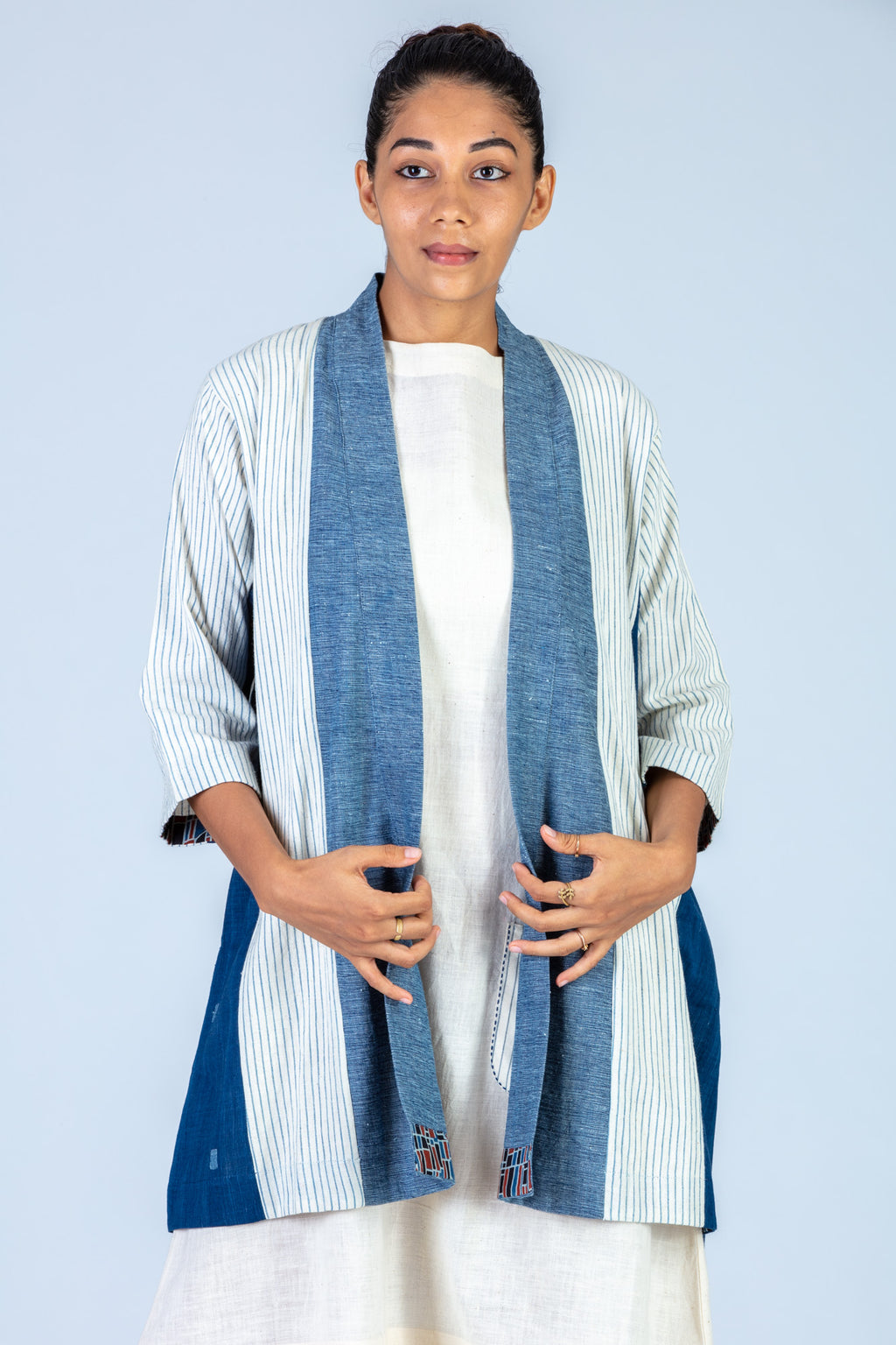 Blue Organic cotton and Natural indigo dyed Khadi Jamdani Jacket - HANA - Upasana Design Studio