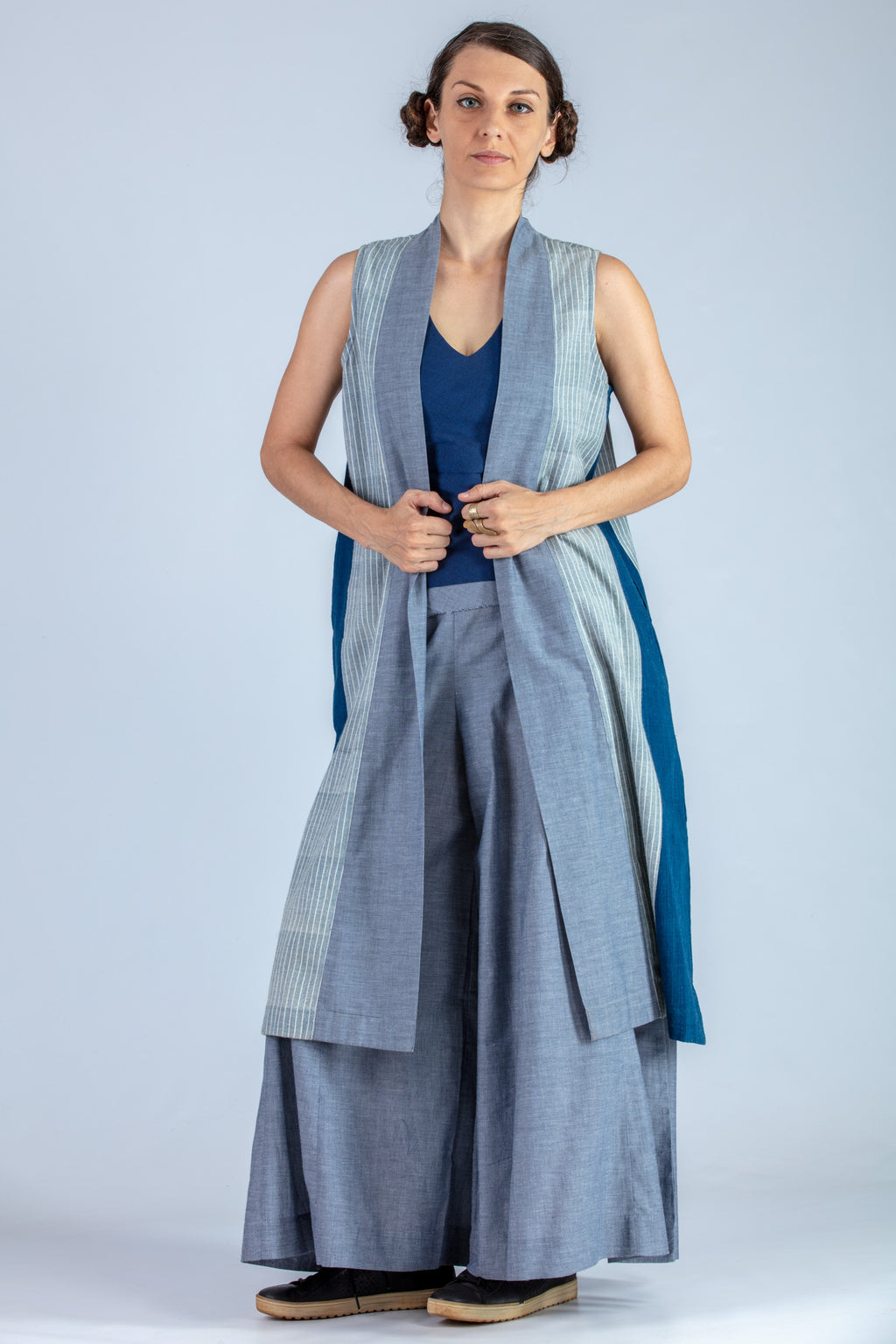 Blue and Natural Indigo Organic cotton Jacket - MISAKI