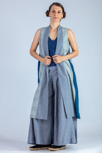 Blue and Natural Indigo Organic cotton Jacket - MISAKI - Upasana Design Studio