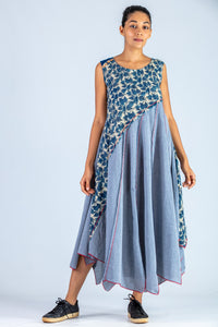 Blue Upcycled Dress - NAISHA - Upasana Design Studio