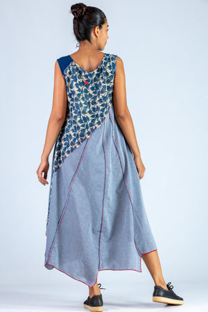 Blue Upcycled Dress - NAISHA