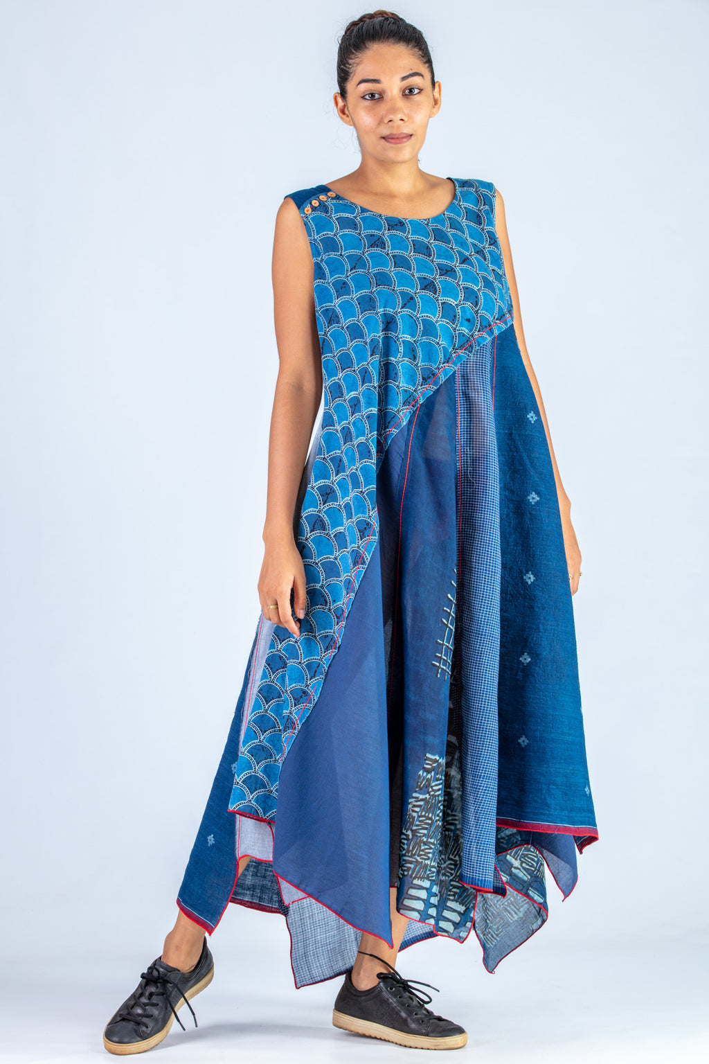 Indigo Upcycled Dress - NAISHA - Upasana Design Studio