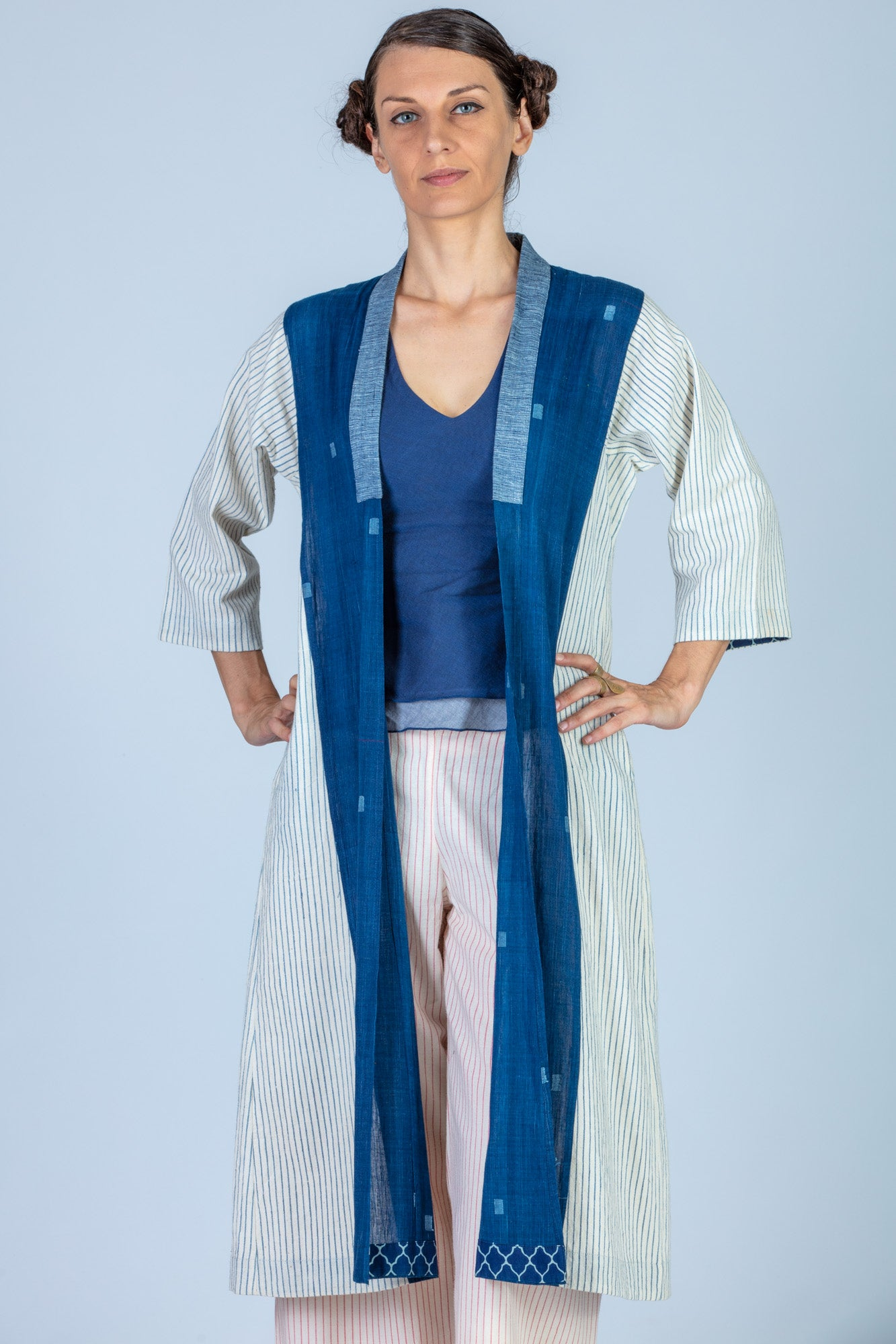 Indigo Organic cotton and Khadi Jamdani Jacket - SAYURI - Upasana Design Studio