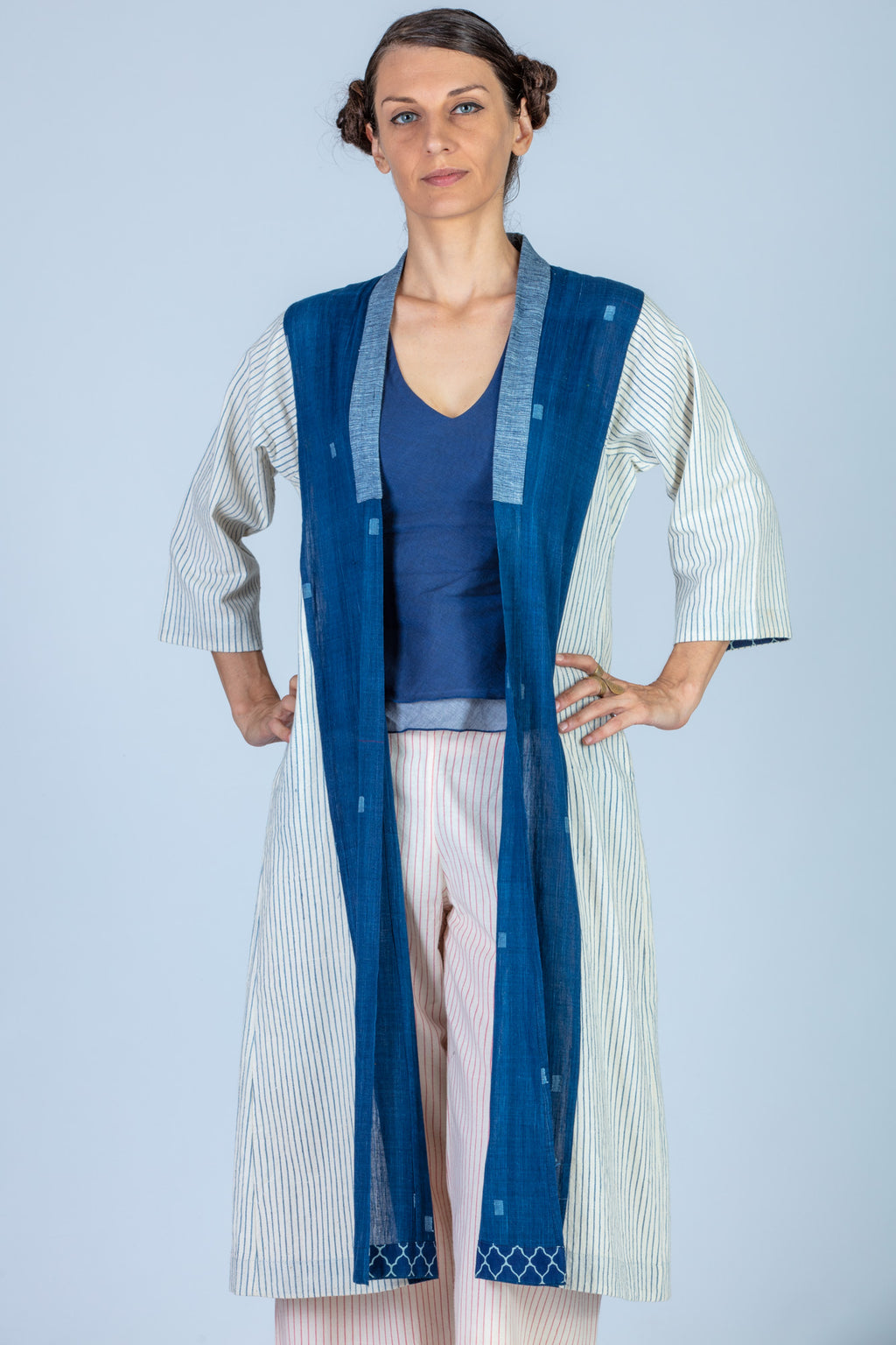 Indigo Organic cotton and Khadi Jamdani Jacket - SAYURI