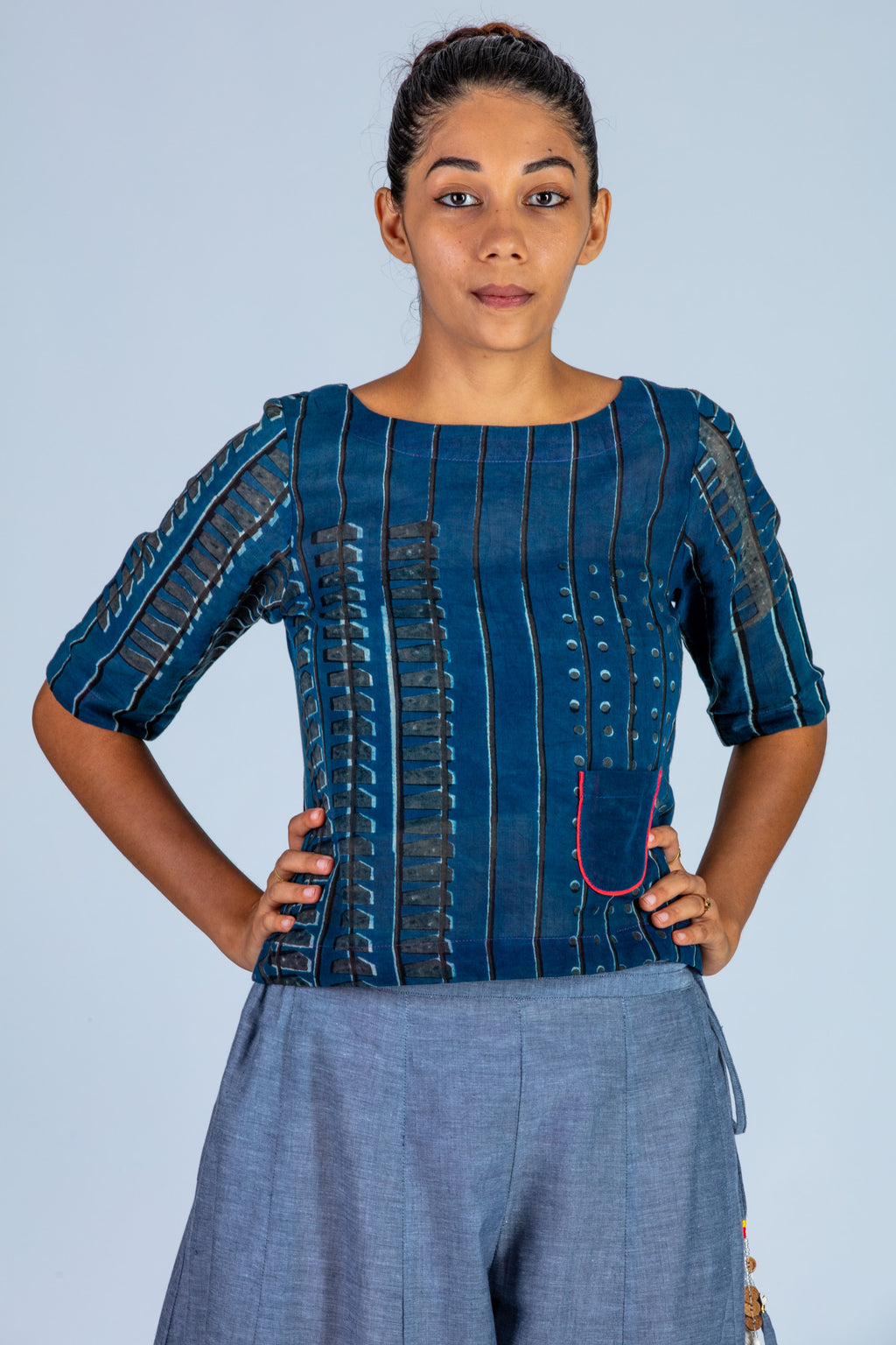 Indigo Hand block printed Organic cotton Mal Top - KUTTY - Upasana Design Studio