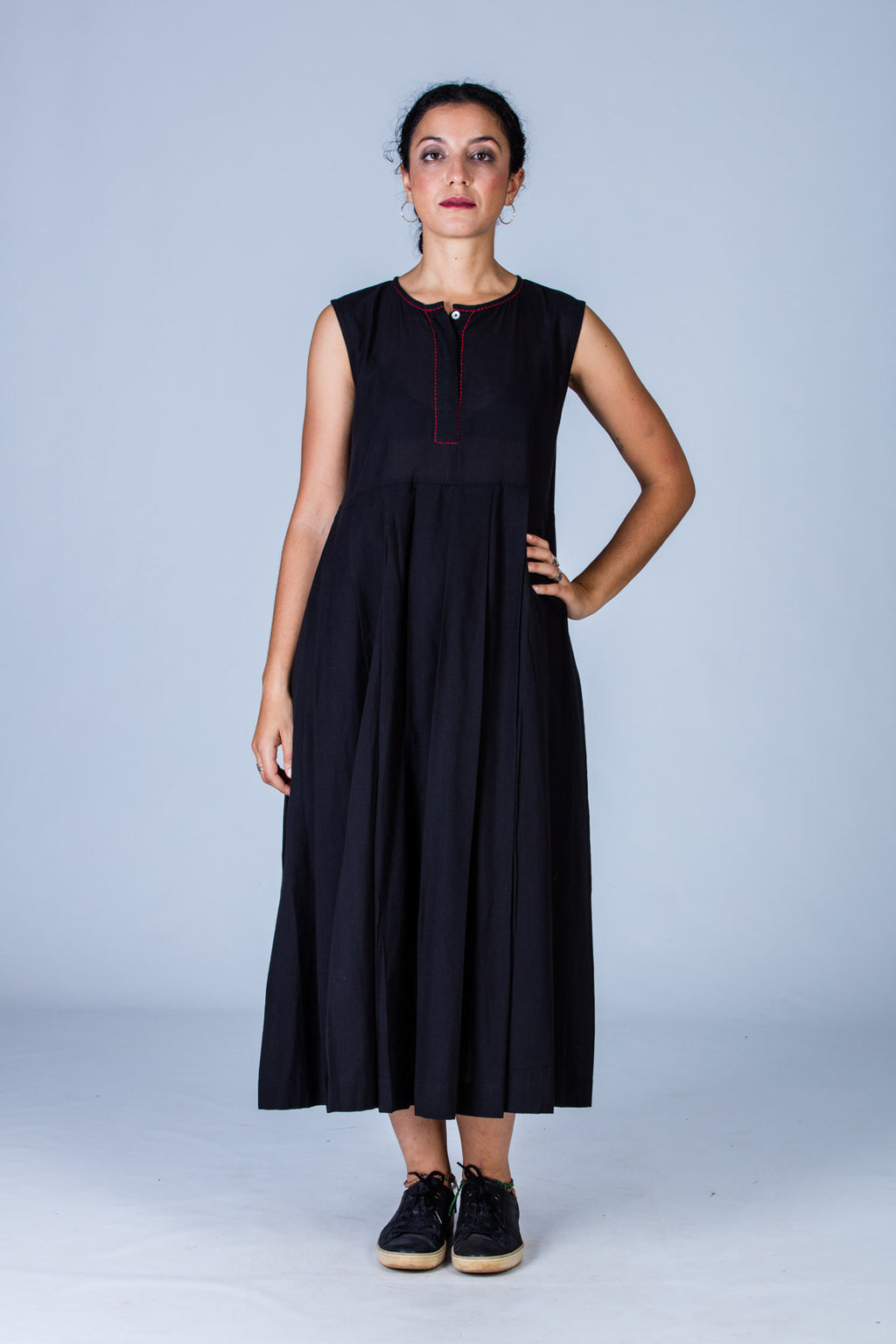 Navya -Black Organic cotton Dress - Upasana Design Studio