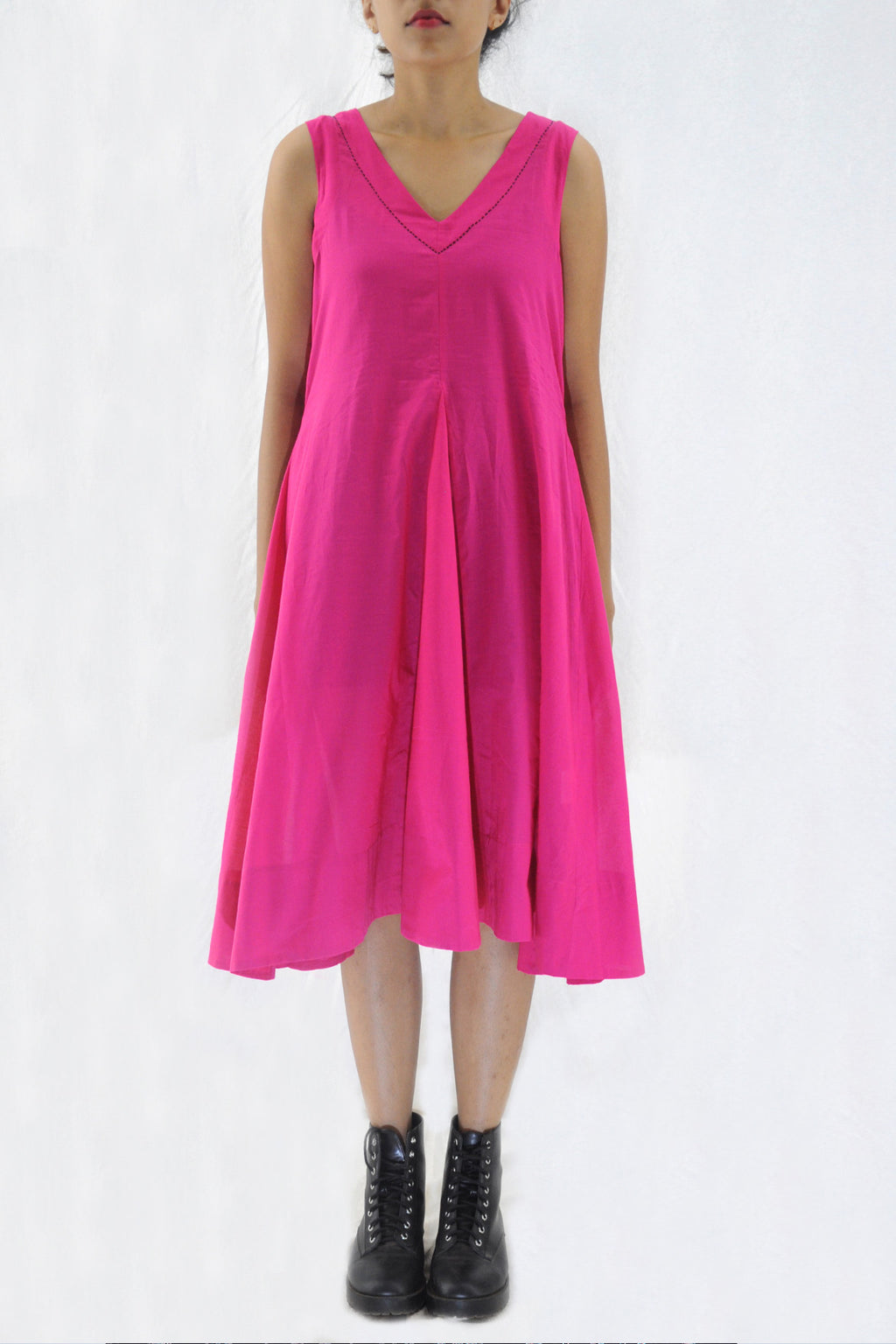 Nalini-Pink Organic cotton Dress - Upasana Design Studio