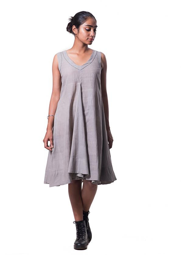 Light-Grey Tulsi dyed Organic cotton Dress - NALINI