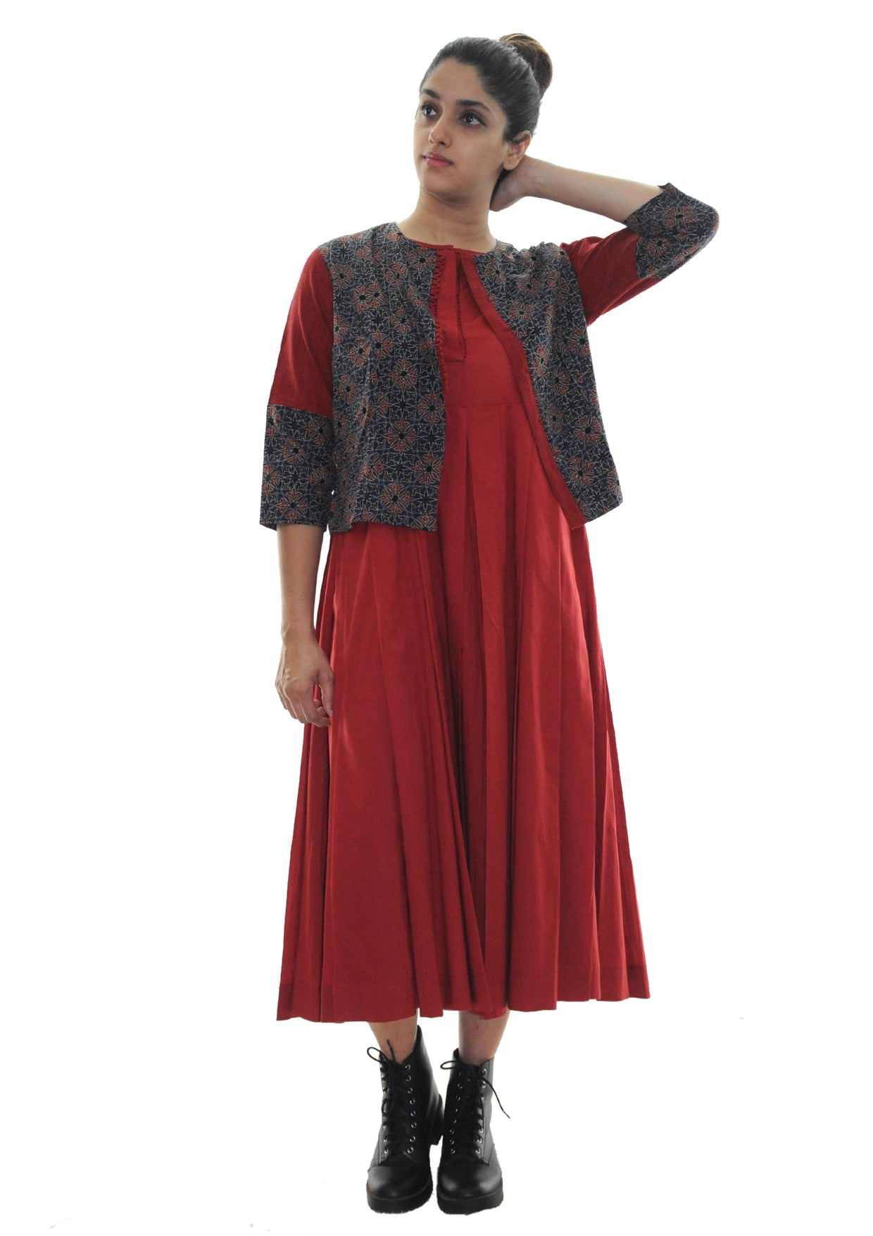 Organic  cotton dress navsa and ikat jacket set - Red