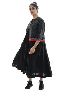 Organic  cotton dress navsa and ikat jacket set - Black