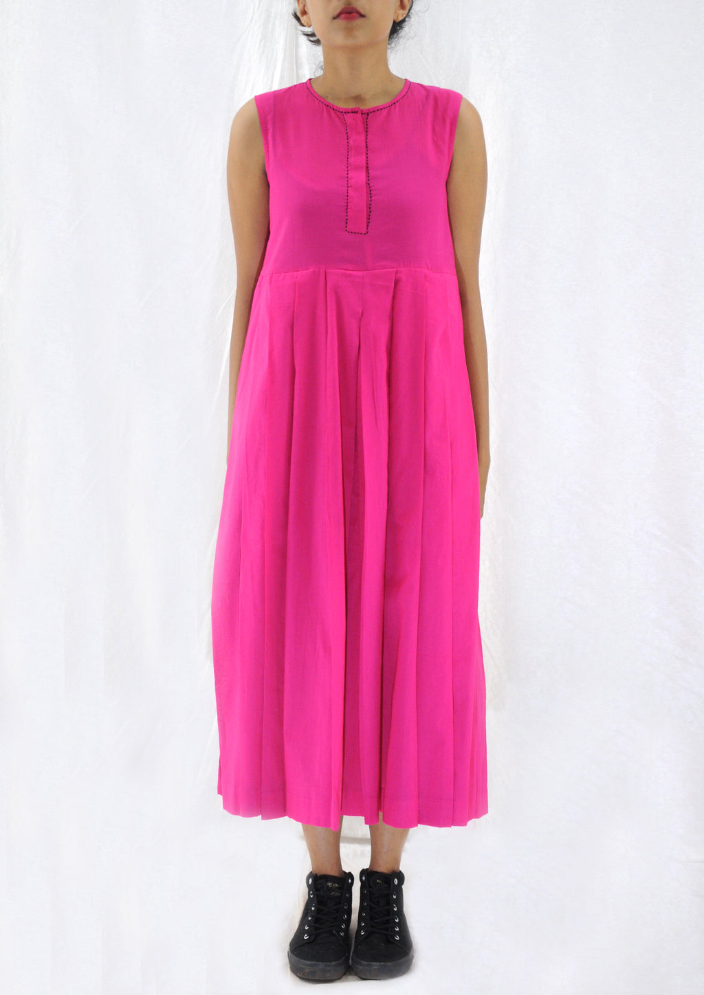 Navya-Pink Organic Cotton Dress - Upasana Design Studio