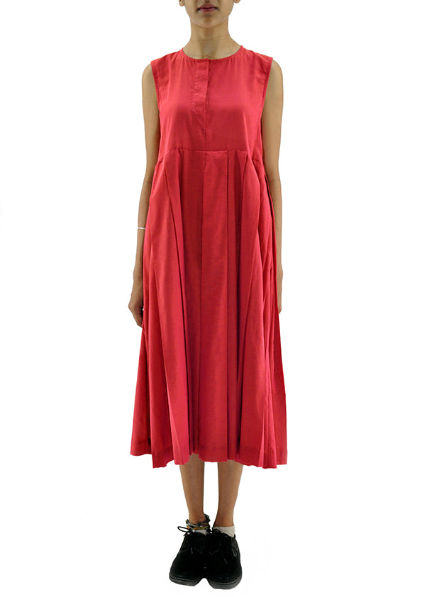 Red Organic Cotton Dress - NAVYA - Upasana Design Studio