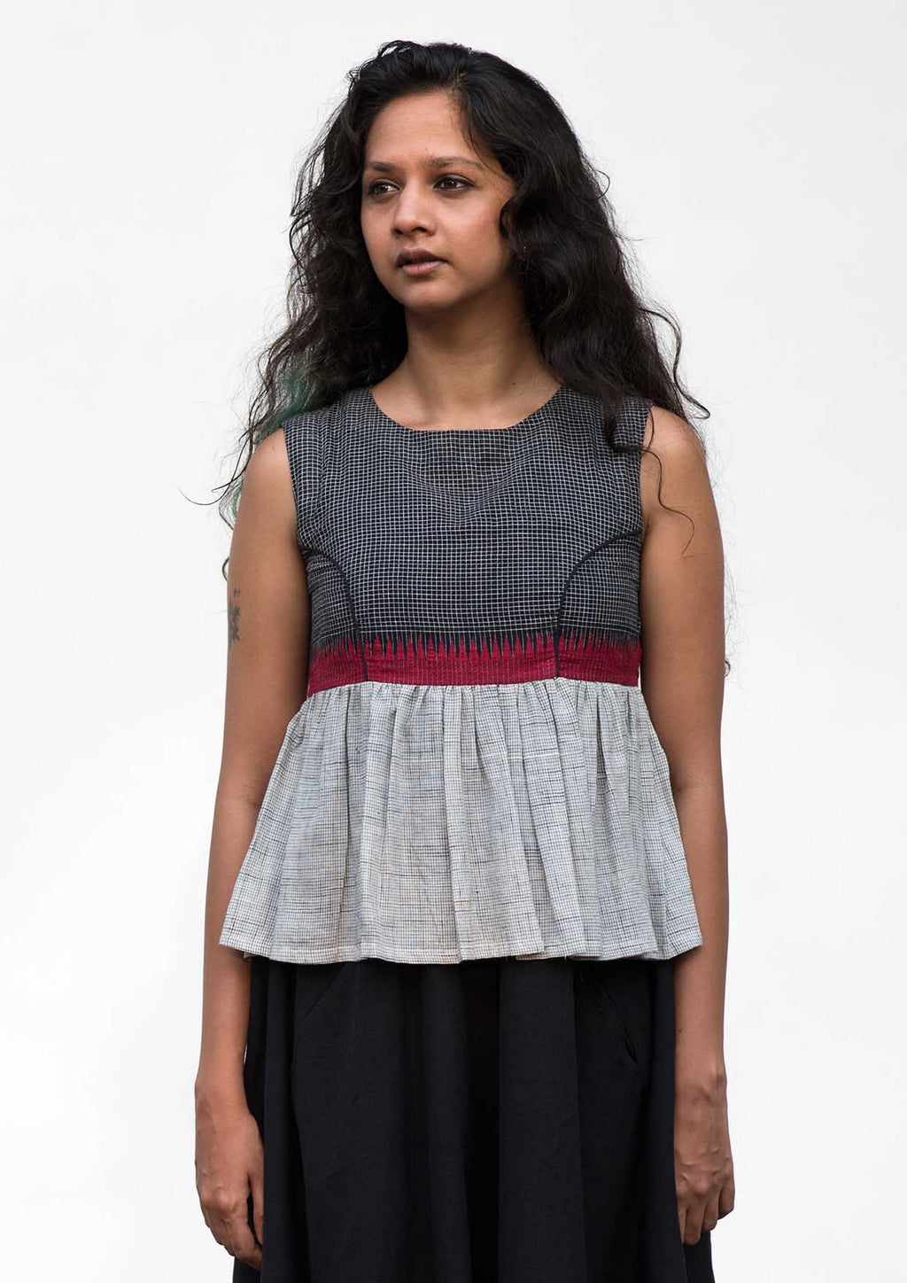 Neha -Handwoven Black Checked Cotton Top