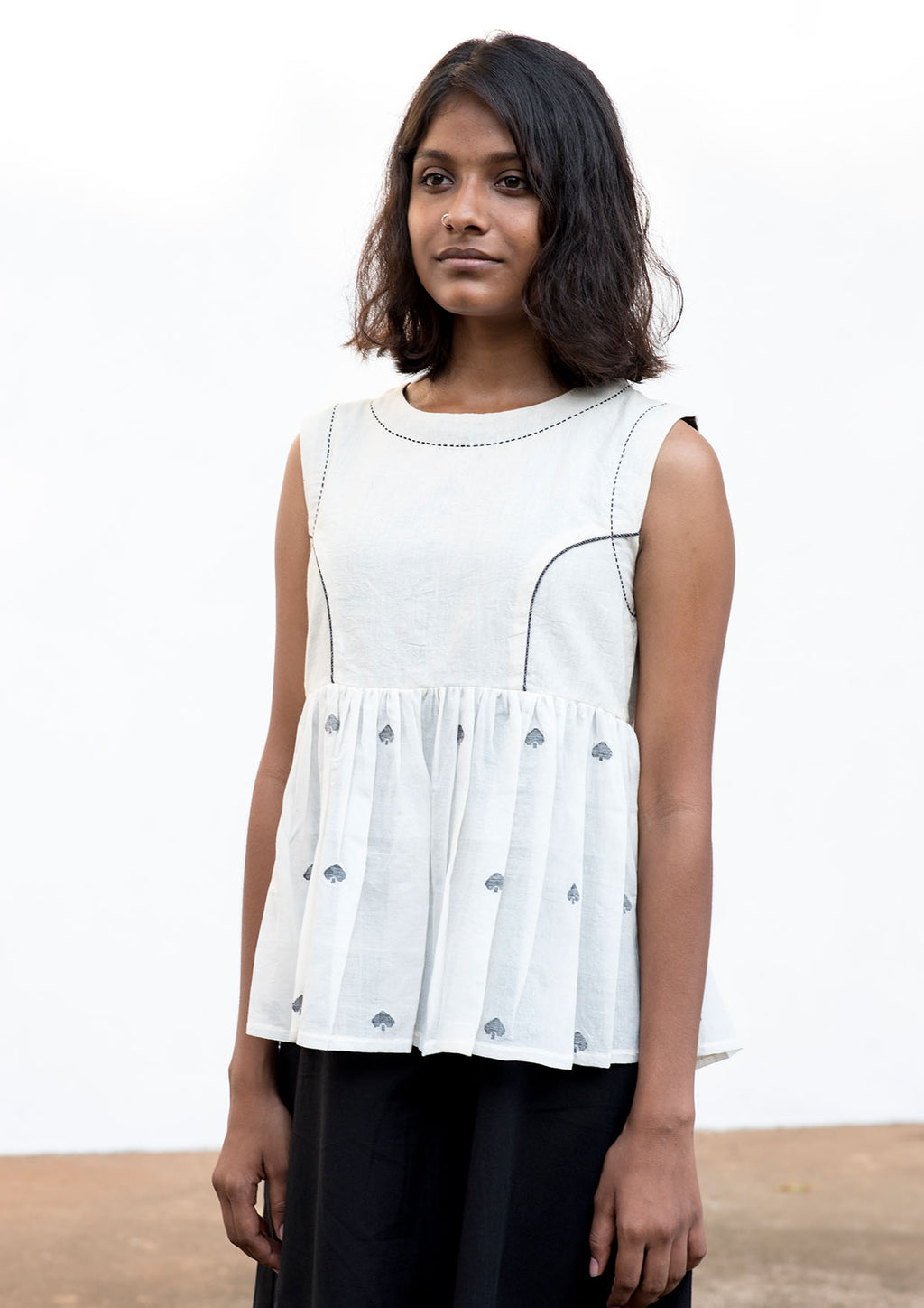 Neha -Handwoven Off White Jamdani Cotton Top