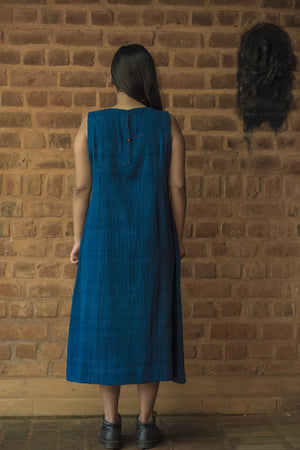 Natural Indigo Khadi Pintuck Women Dress - NIKITA