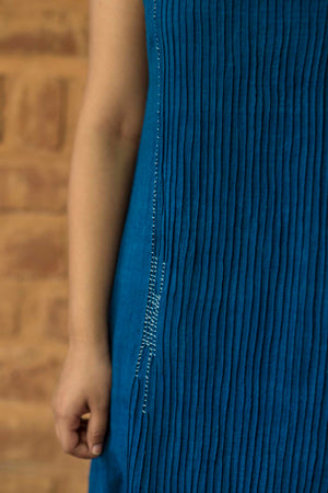 Natural Indigo Khadi Pintuck Dress - NIKITA