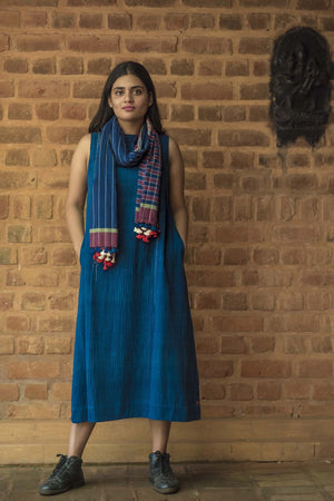 Natural Indigo Khadi Pintuck Dress - NIKITA - Upasana Design Studio