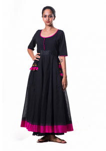 Pampa-Temple Border Cotton Dress With Silk