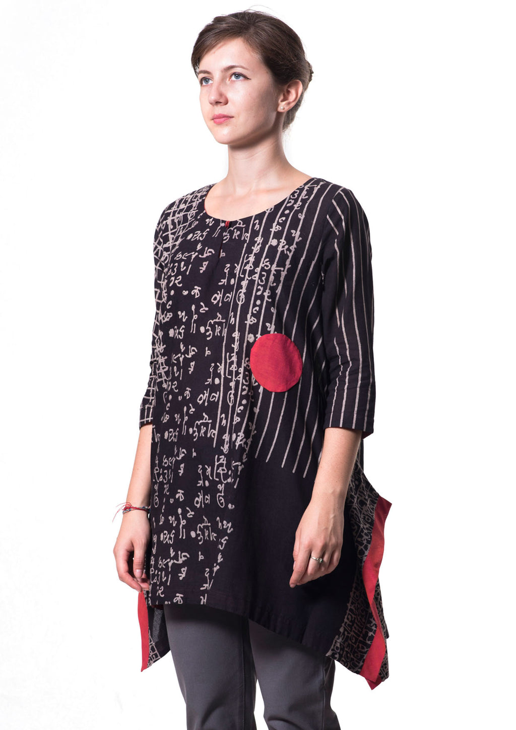 Black hand block printed Organic cotton Mal Top - PERO - Upasana Design Studio