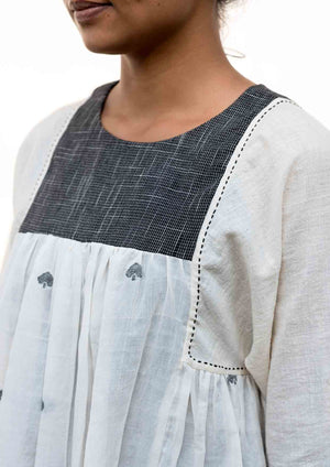 Rachana -Handwoven Off White Cotton Top