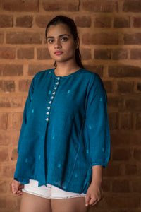 Natural Indigo Khadi Jamdani Top - RUMI - Upasana Design Studio