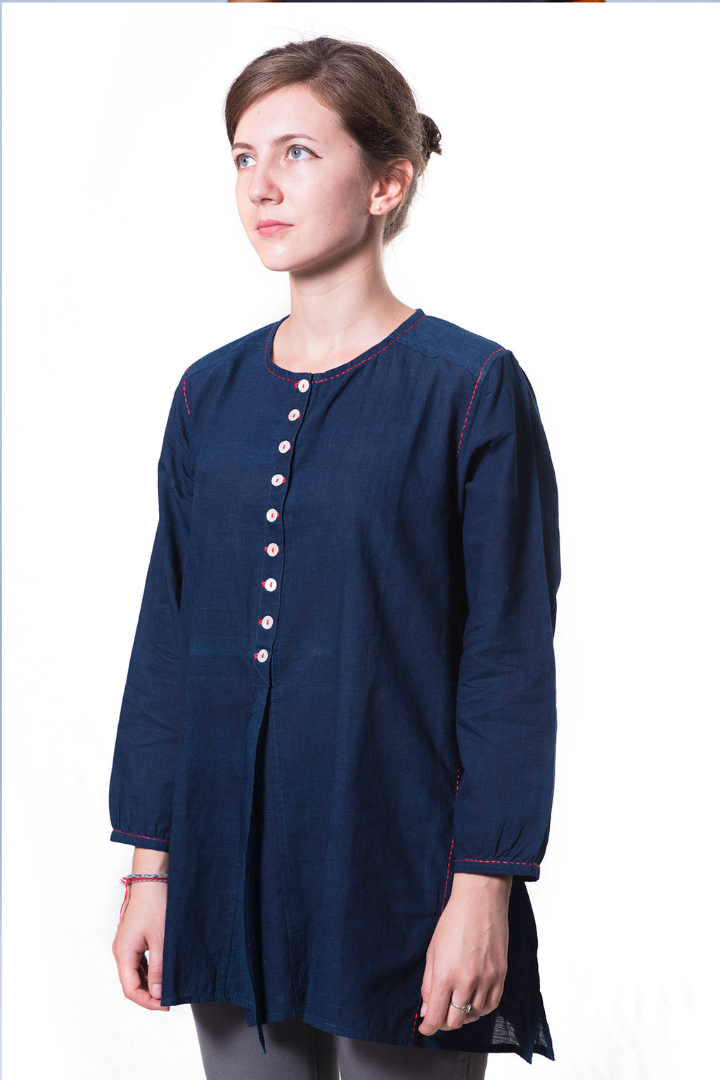 Natural Indigo Fine Khadi Top - RUMI - Upasana Design Studio