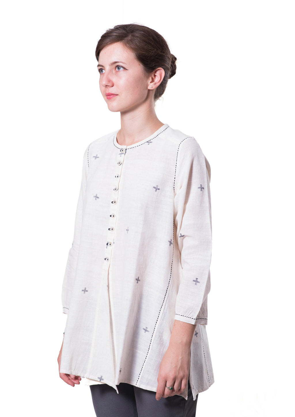 Off White Khadi Jamdani Top - RUMI - Upasana Design Studio