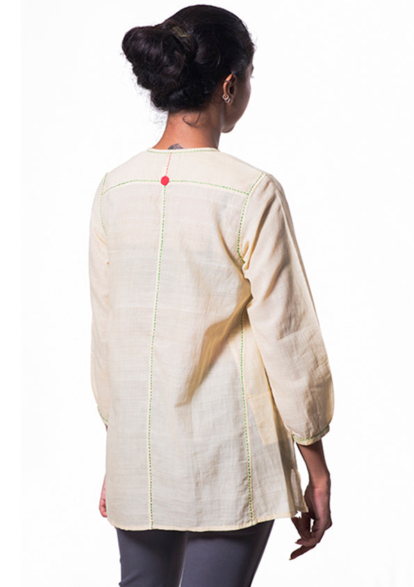 Neem dye Organic cotton Top - RUMI - Upasana Design Studio