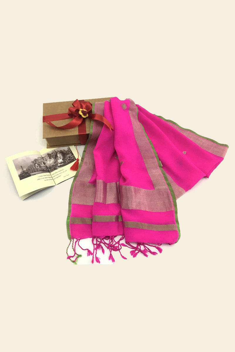 Pink and Gold Varanasi Silk Scarf Gift Box