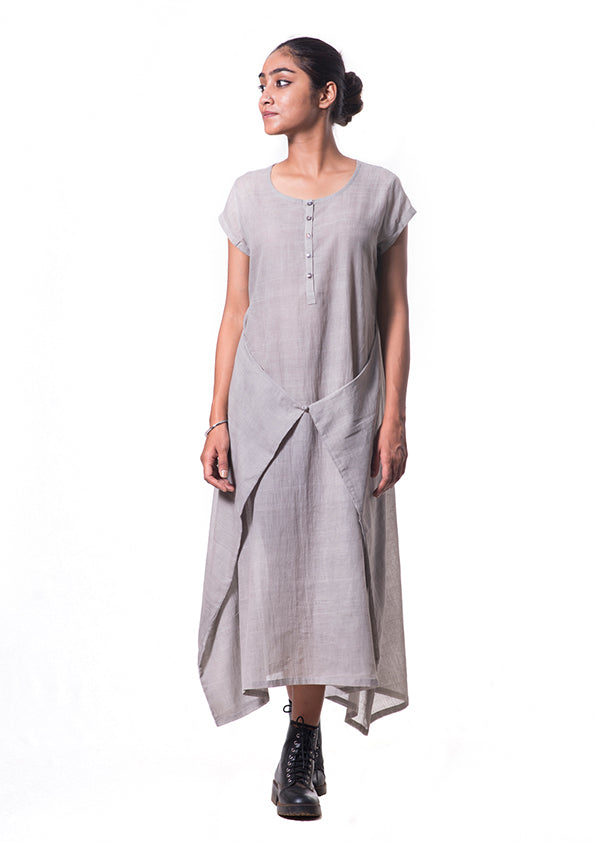 Light-Grey Tulsi dyed Organic cotton dress - SAIMA