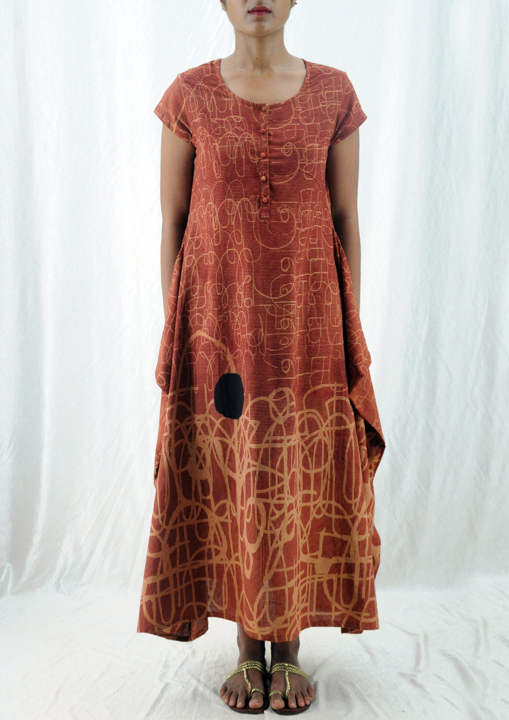 Saima -Organic Cotton Printed Ochre Dress