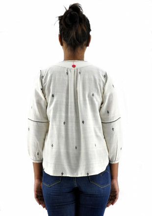 Off White Khadi Jamdani Top - SRIA - Upasana Design Studio